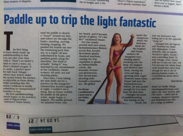 Stand Up Paddle Tobago in the Sunday Times